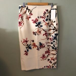Zara floral print pencil skirt